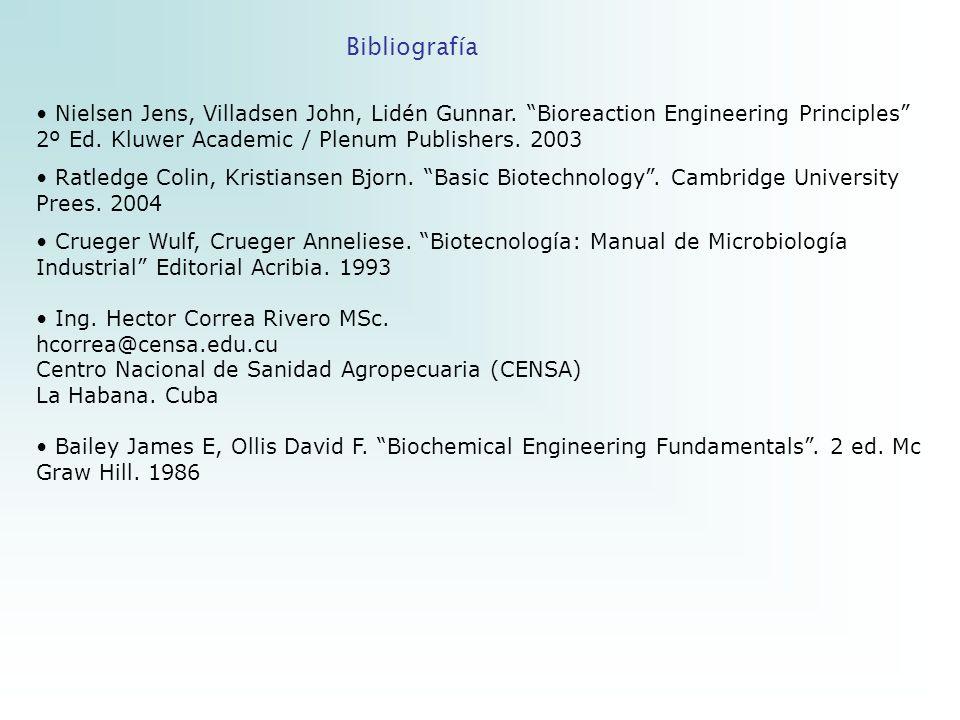 BibliografíaNielsen Jens, Villadsen John, Lidén Gunnar. Bioreaction Engineering Principles 2º Ed. Kluwer Academic / Plenum Publishers. 2003.