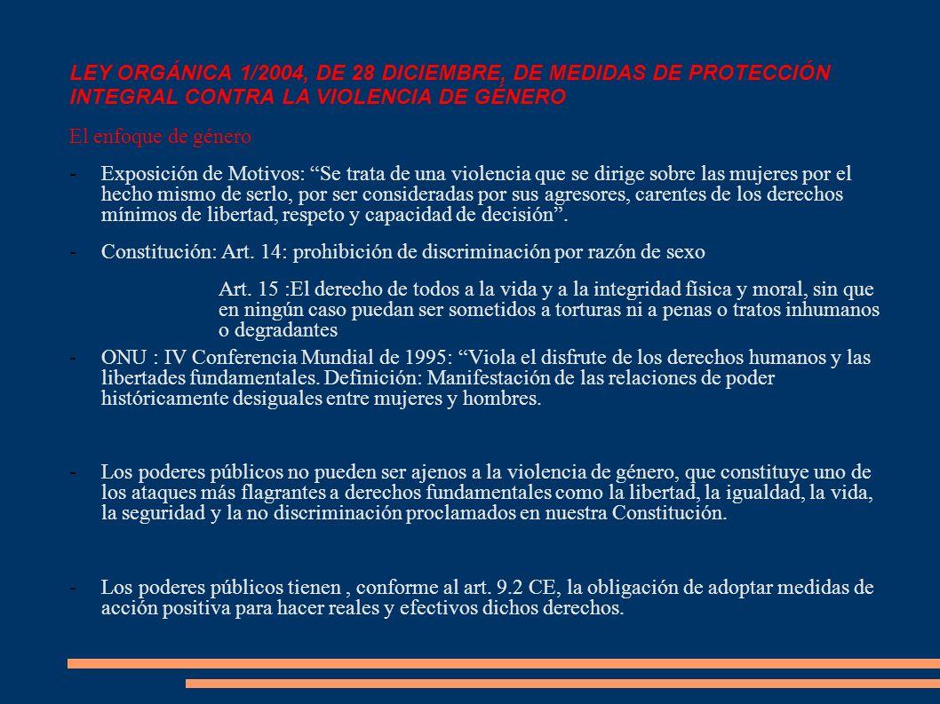 LEY ORGÁNICA 1/2004, DE 28 DICIEMBRE, DE MEDIDAS DE PROTECCIÓN INTEGRAL CONTRA LA VIOLENCIA DE GÉNERO