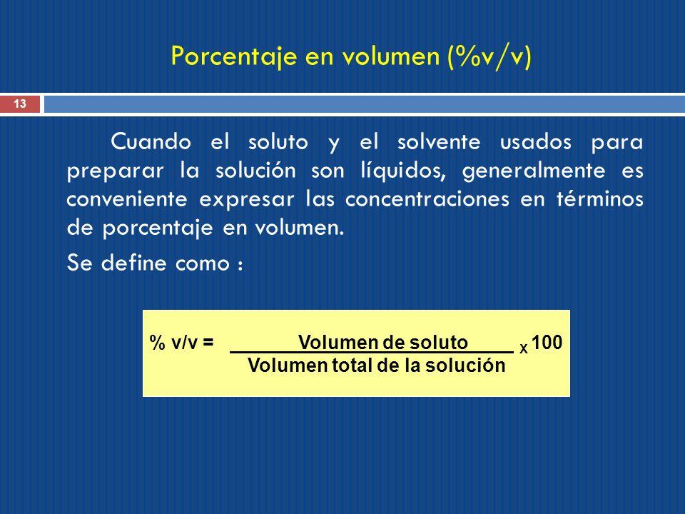 Porcentaje en volumen (%v/v)