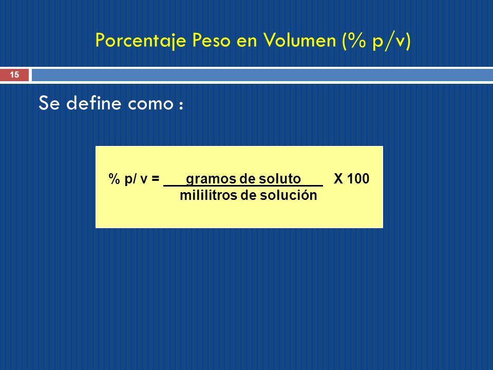 Porcentaje Peso en Volumen (% p/v)