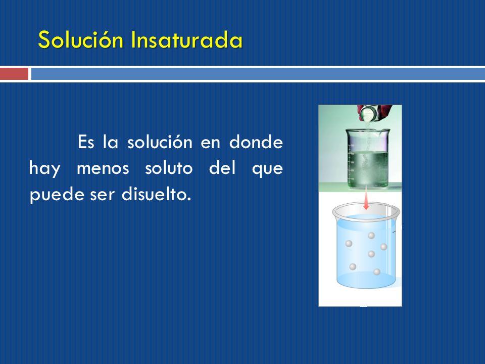 Solución Insaturada Es la solución en donde hay menos soluto del que puede ser disuelto.