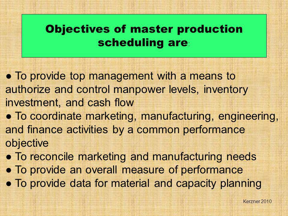 OBJECTIVES OF PRODUCTION PLANNING AND CONTROL Production and Operations Management