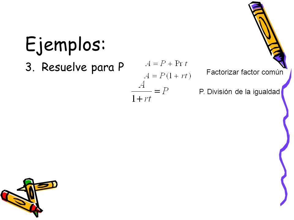 Ejemplos: 3. Resuelve para P Factorizar factor común