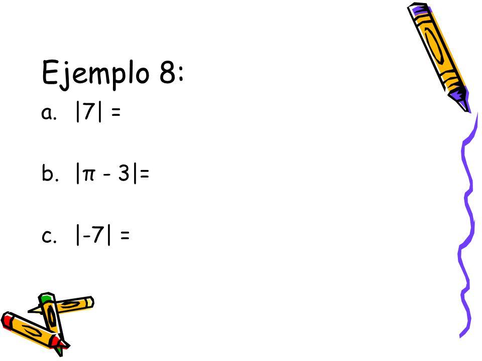 Ejemplo 8: |7| = |π - 3|= |-7| =