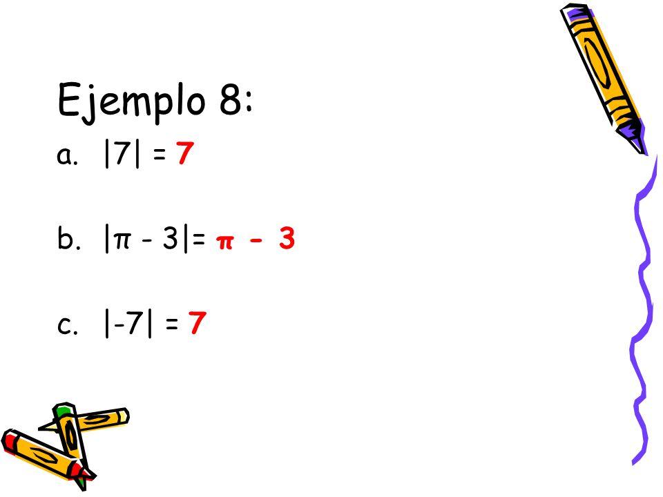 Ejemplo 8: |7| = 7 |π - 3|= π - 3 |-7| = 7