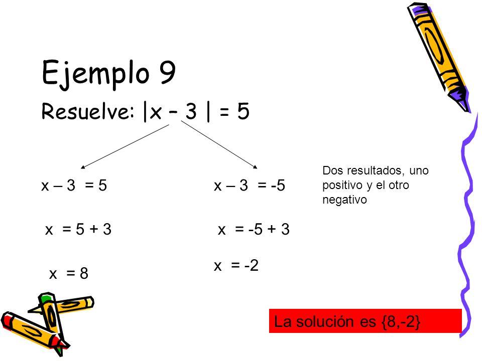 Ejemplo 9 Resuelve: |x – 3 | = 5 x – 3 = 5 x – 3 = -5 x = 5 + 3