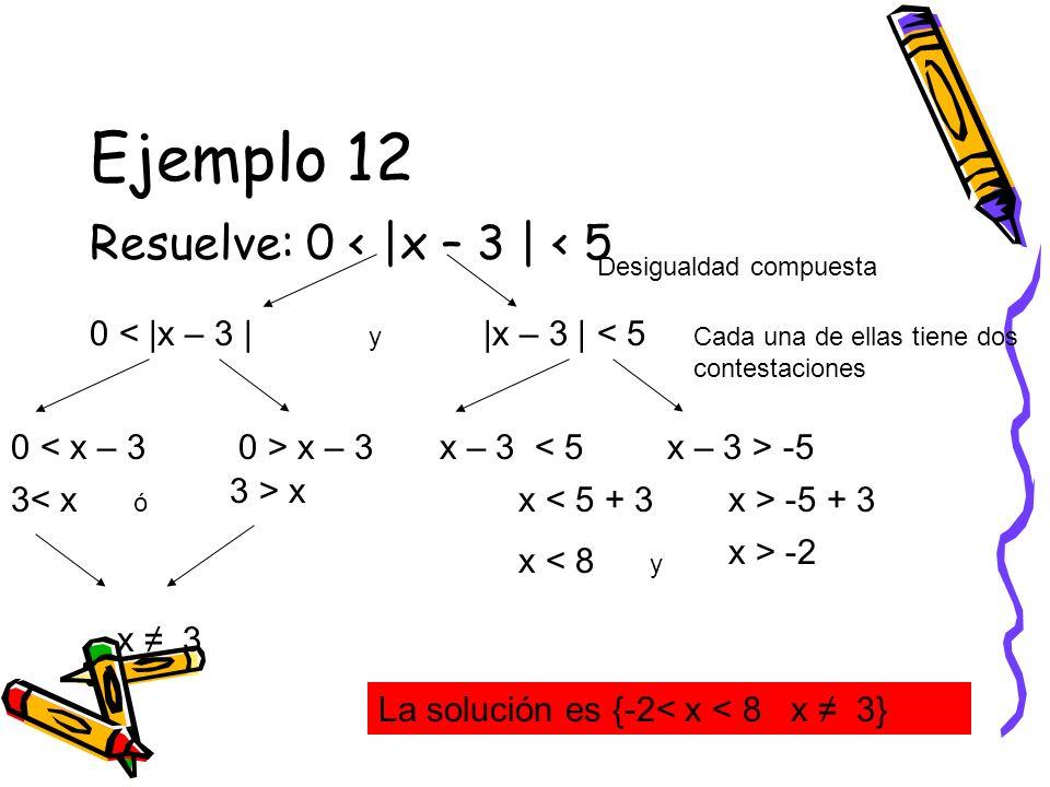 Ejemplo 12 Resuelve: 0 < |x – 3 | < 5 0 < |x – 3 |