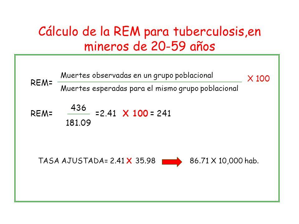 Cálculo de la REM para tuberculosis,en mineros de 20-59 años