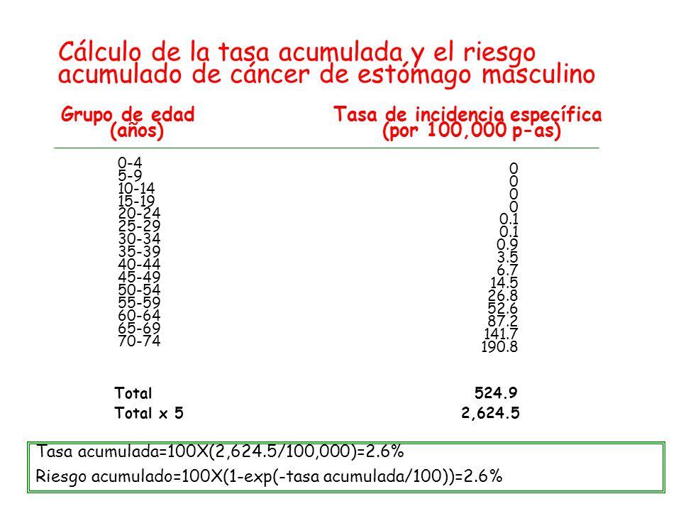 Cálculo de la tasa acumulada y el riesgo acumulado de cáncer de estómago masculino