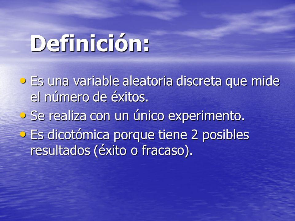 Definición: Es una variable aleatoria discreta que mide el número de éxitos. Se realiza con un único experimento.