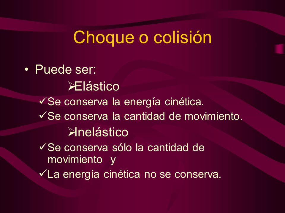Choque o colisión Puede ser: Elástico Inelástico