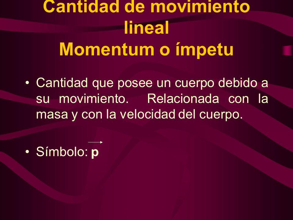 Cantidad de movimiento lineal Momentum o ímpetu