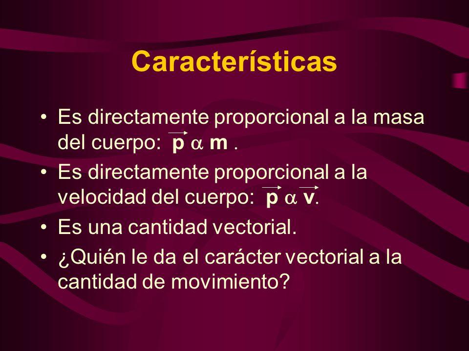 Características Es directamente proporcional a la masa del cuerpo: p  m . Es directamente proporcional a la velocidad del cuerpo: p  v.