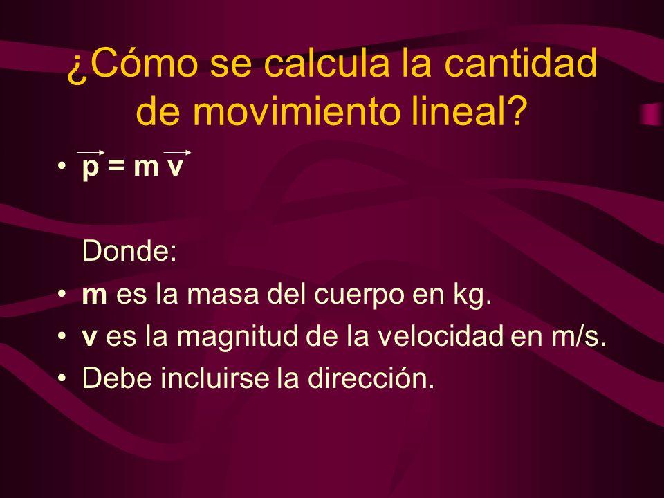 ¿Cómo se calcula la cantidad de movimiento lineal