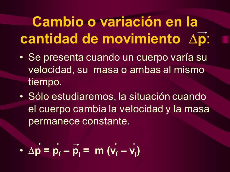 Cambio o variación en la cantidad de movimiento p: