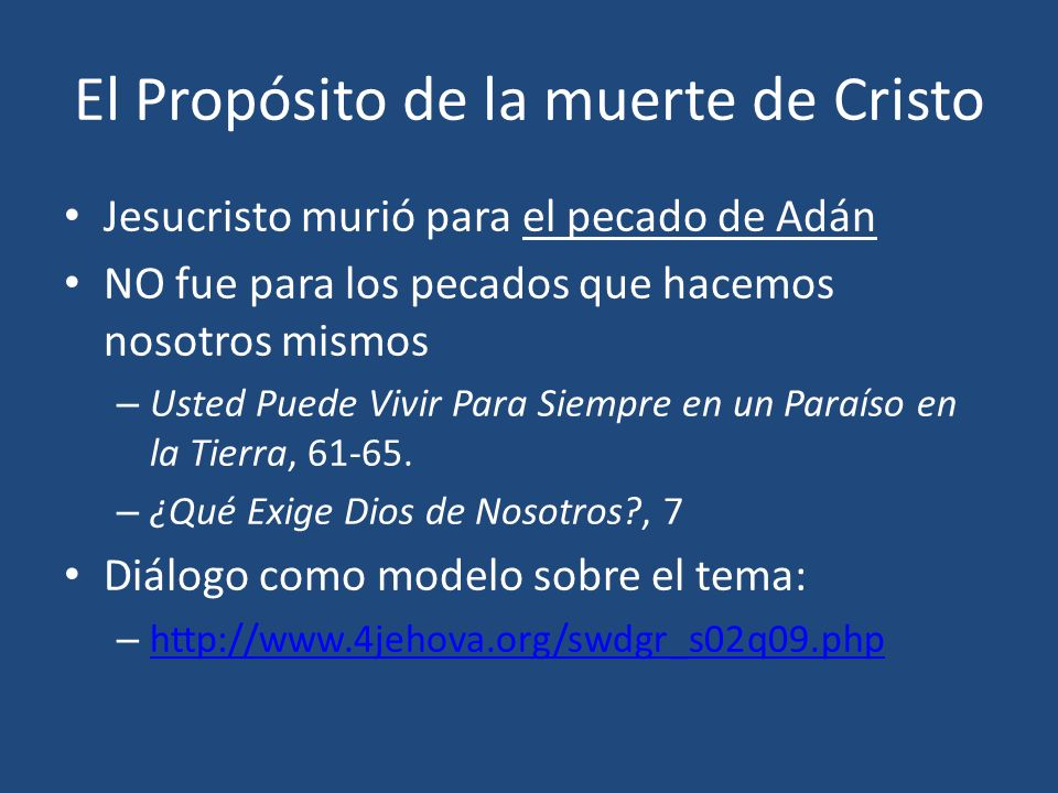 El Propósito de la muerte de Cristo