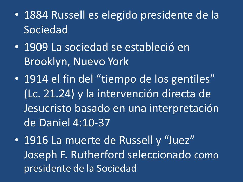 1884 Russell es elegido presidente de la Sociedad