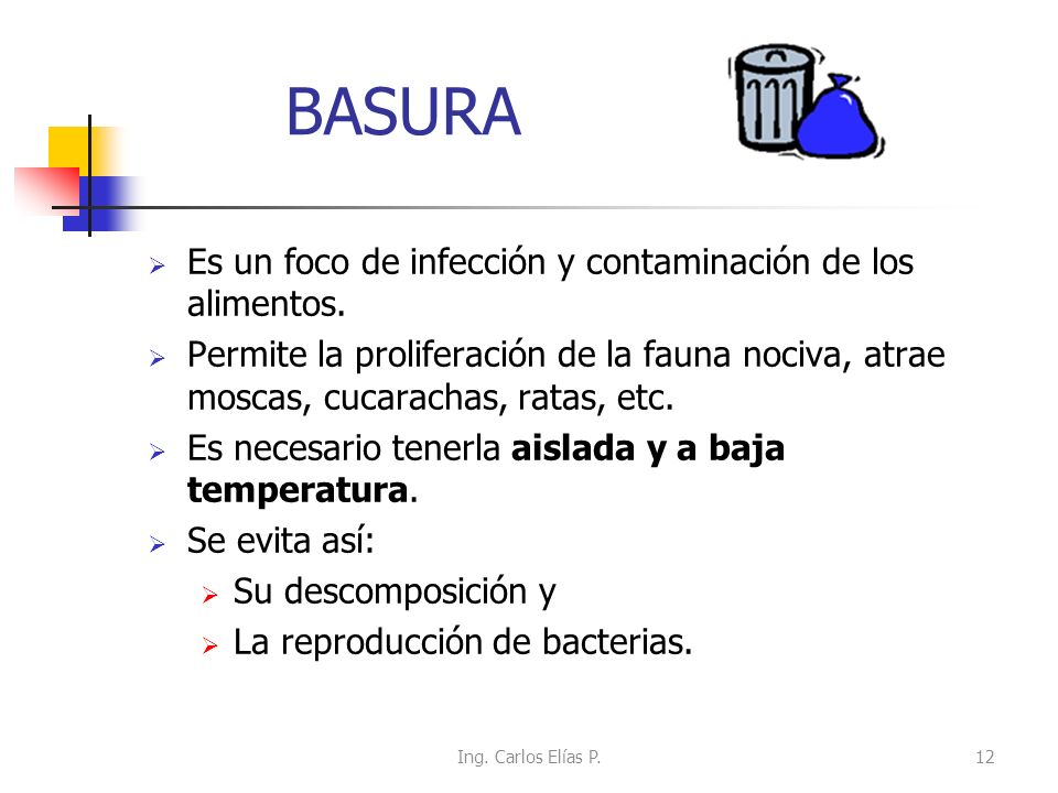 BASURA Es un foco de infección y contaminación de los alimentos.