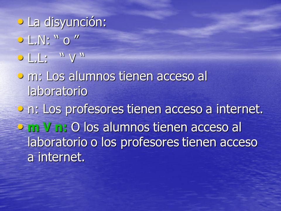 La disyunción:L.N: o L.L: ۷ m: Los alumnos tienen acceso al laboratorio. n: Los profesores tienen acceso a internet.
