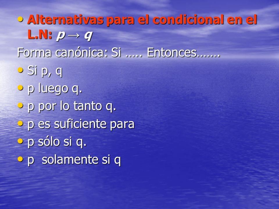 Alternativas para el condicional en el L.N: p → q