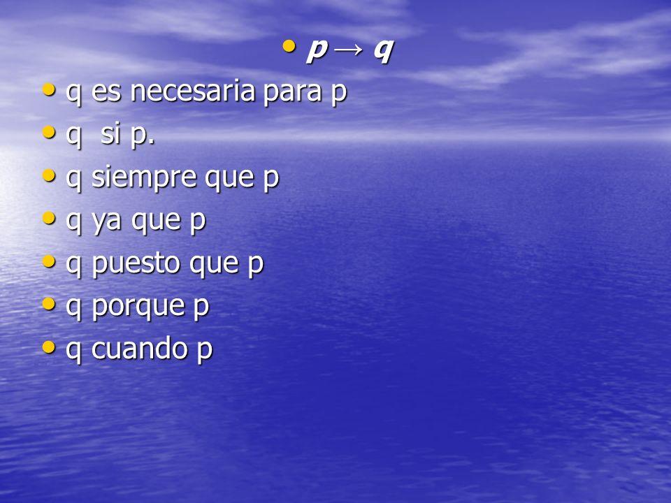 p → q q es necesaria para p. q si p. q siempre que p. q ya que p. q puesto que p. q porque p.
