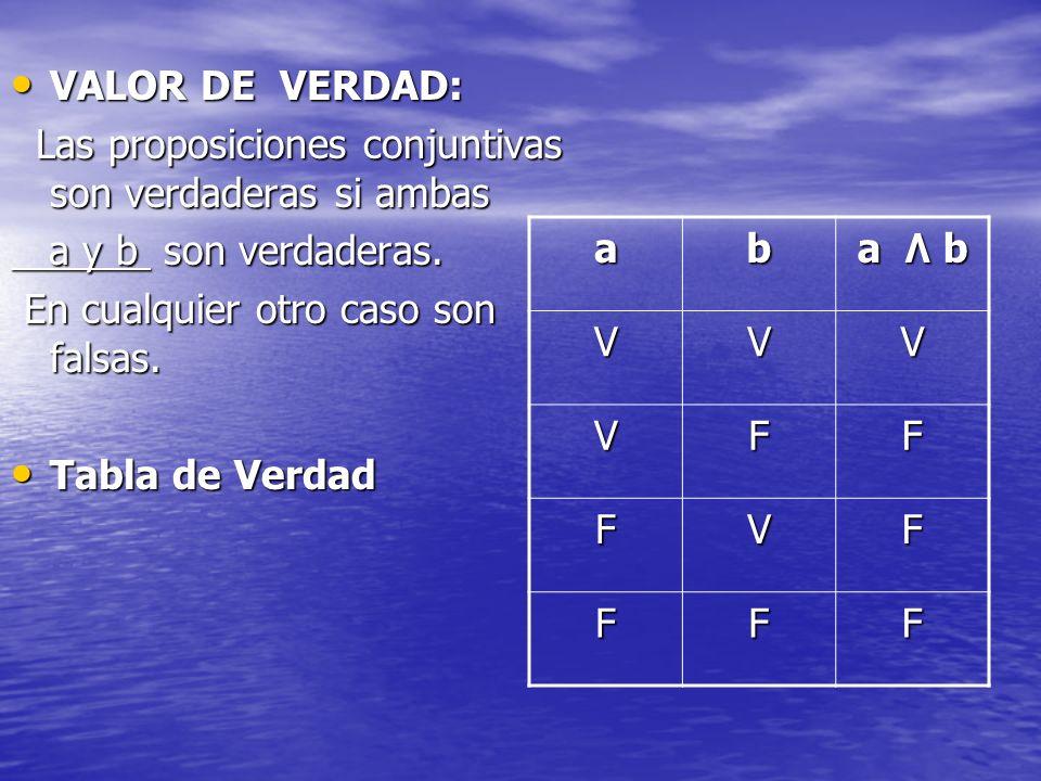 VALOR DE VERDAD:Las proposiciones conjuntivas son verdaderas si ambas. a y b son verdaderas. En cualquier otro caso son falsas.