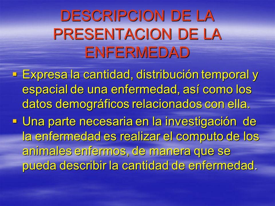 DESCRIPCION DE LA PRESENTACION DE LA ENFERMEDAD