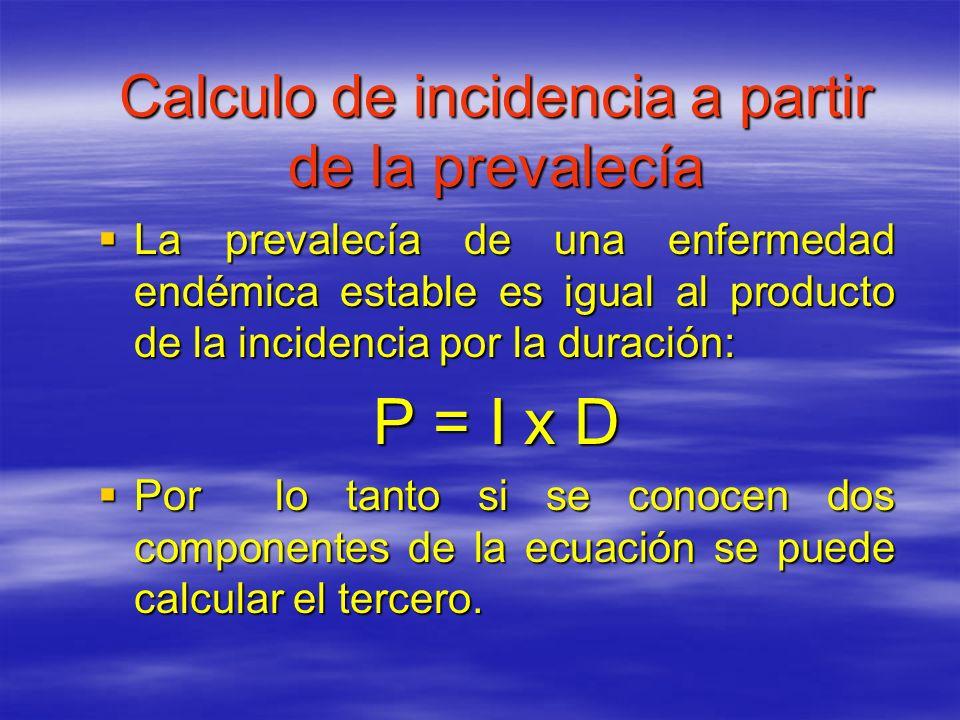 Calculo de incidencia a partir de la prevalecía