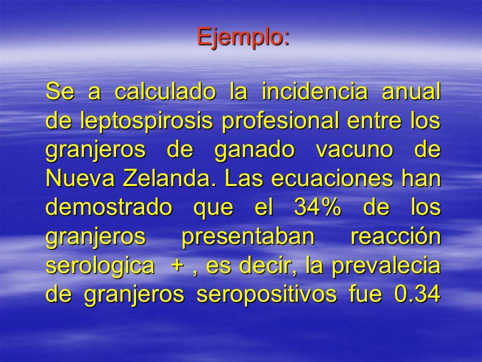 Ejemplo: Se a calculado la incidencia anual de leptospirosis profesional entre los granjeros de ganado vacuno de Nueva Zelanda.