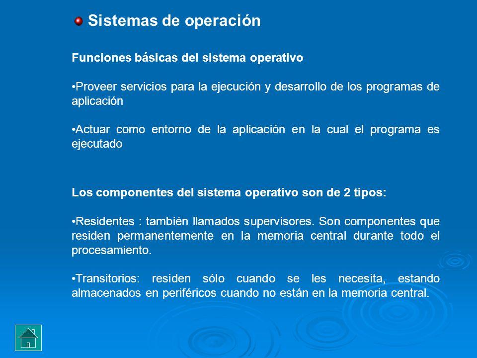 Sistemas de operación Funciones básicas del sistema operativo