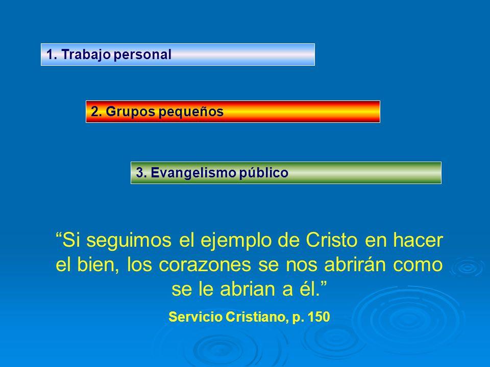 1. Trabajo personal 2. Grupos pequeños. 3. Evangelismo público.