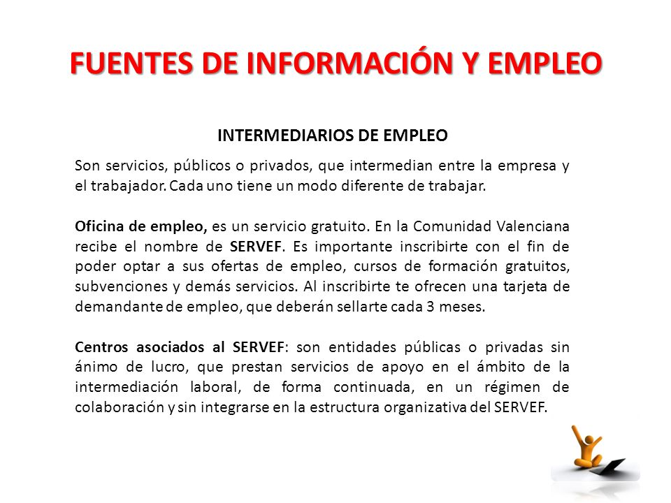 Ndice planificaci n profesional fuentes de informaci n y for Oficina virtual de formacion profesional para el empleo