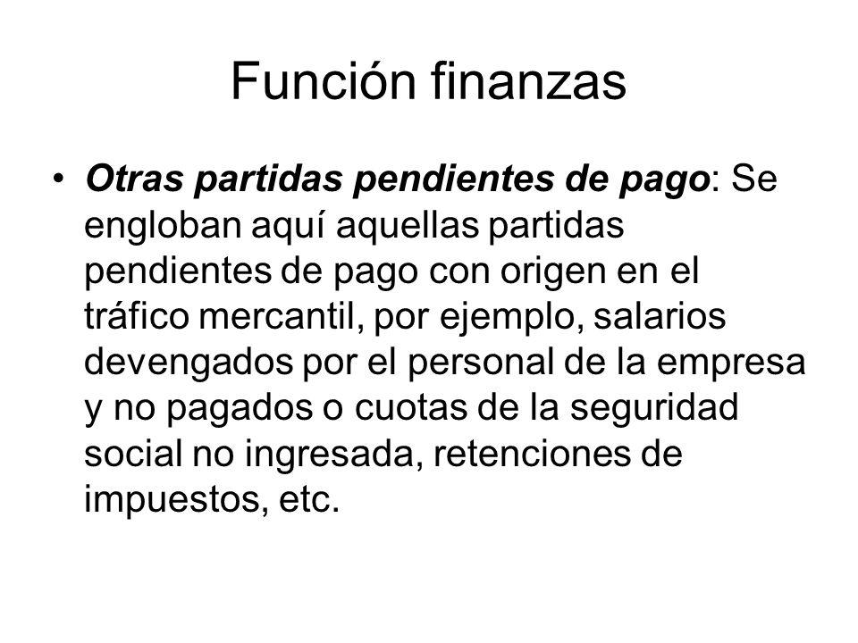 Función finanzas