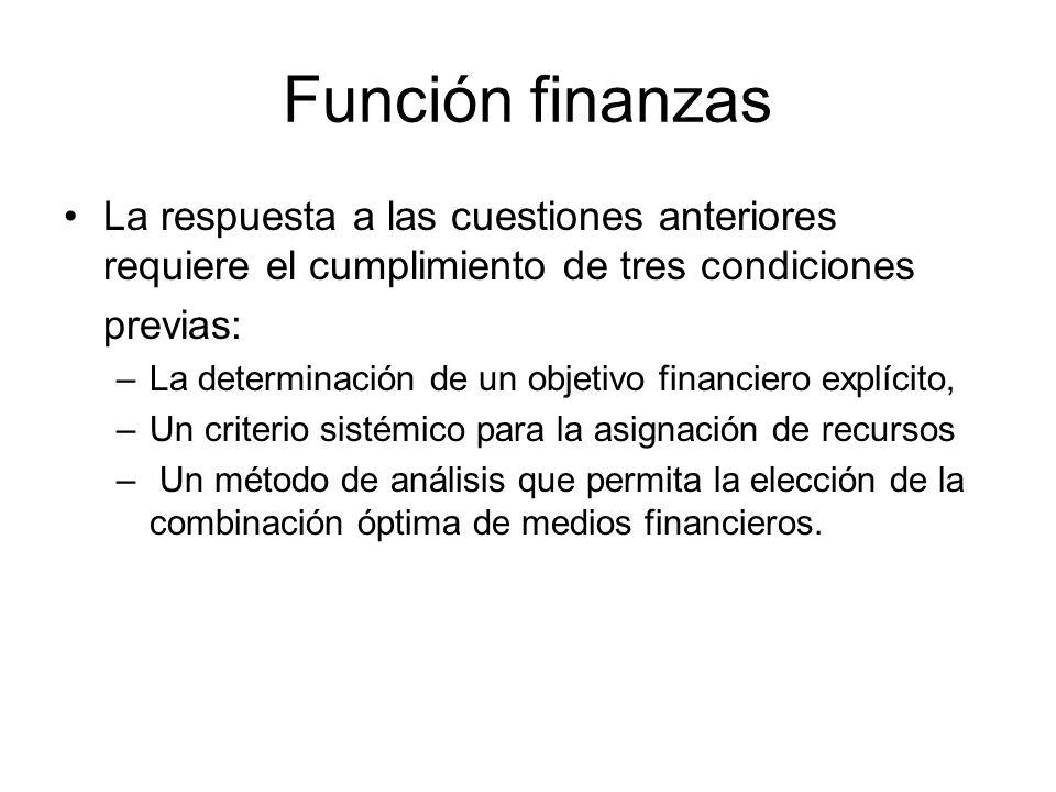 Función finanzas La respuesta a las cuestiones anteriores requiere el cumplimiento de tres condiciones.