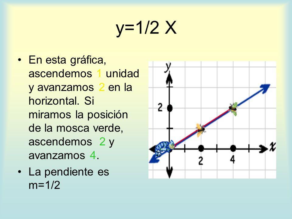 y=1/2 X En esta gráfica, ascendemos 1 unidad y avanzamos 2 en la horizontal. Si miramos la posición de la mosca verde, ascendemos 2 y avanzamos 4.
