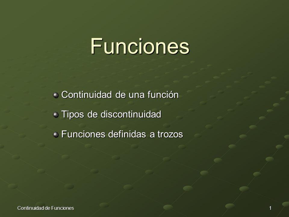 Funciones Continuidad de una función Tipos de discontinuidad