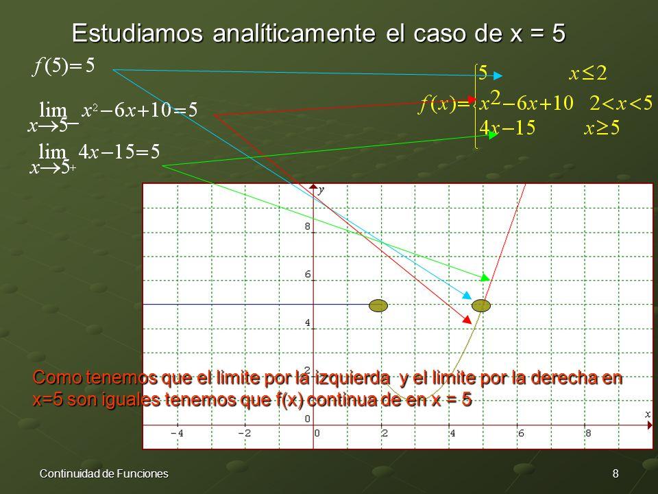 Estudiamos analíticamente el caso de x = 5