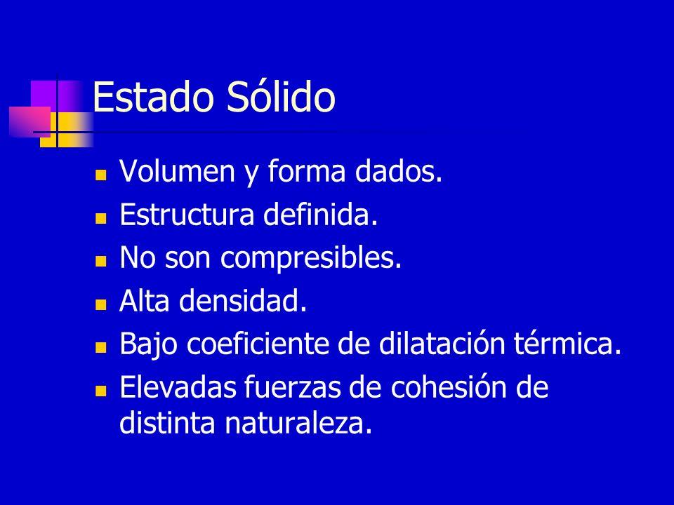Estado Sólido Volumen y forma dados. Estructura definida.