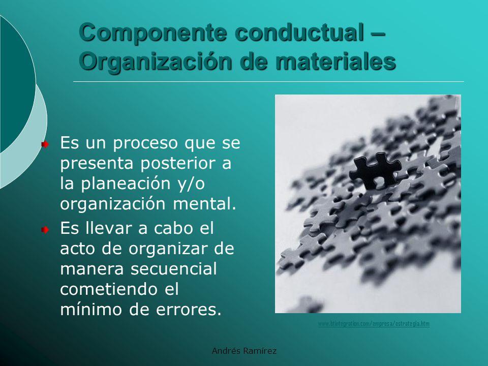 Componente conductual – Organización de materiales