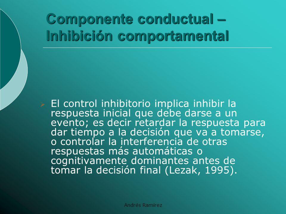 Componente conductual – Inhibición comportamental