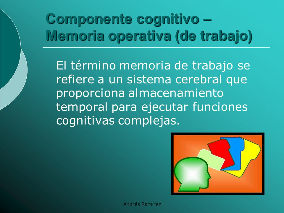 Componente cognitivo – Memoria operativa (de trabajo)