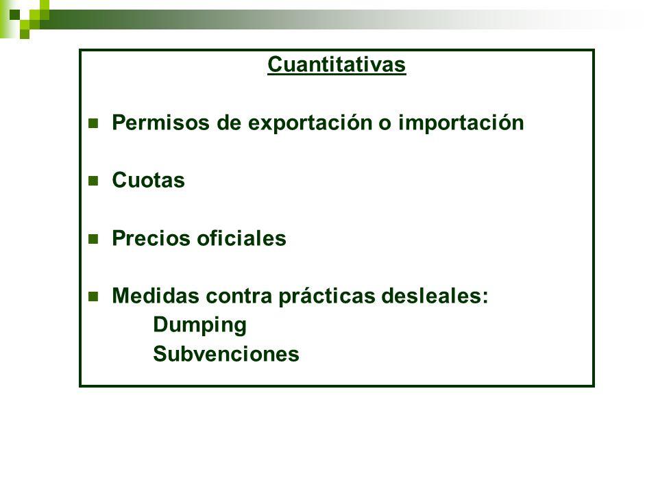 Cuantitativas Permisos de exportación o importación. Cuotas. Precios oficiales. Medidas contra prácticas desleales:
