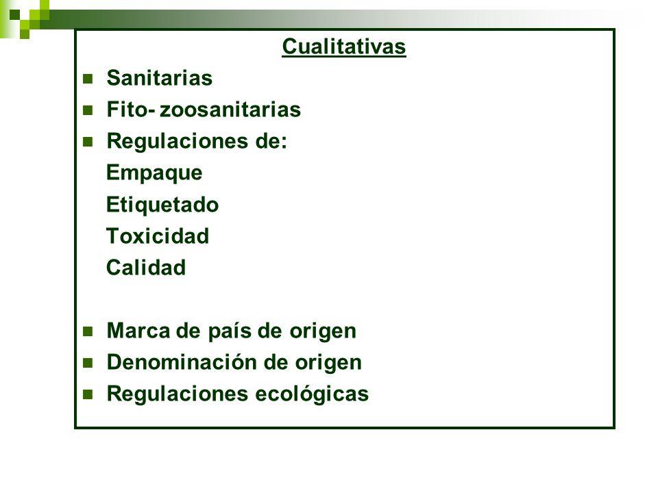 Cualitativas Sanitarias. Fito- zoosanitarias. Regulaciones de: Empaque. Etiquetado. Toxicidad.