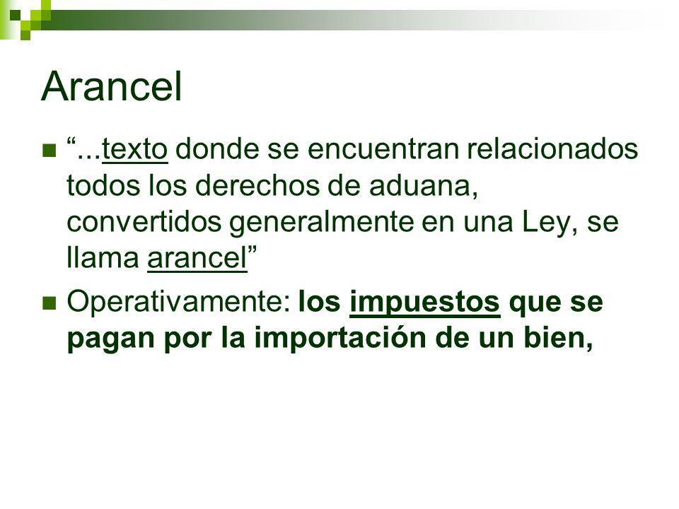 Arancel ...texto donde se encuentran relacionados todos los derechos de aduana, convertidos generalmente en una Ley, se llama arancel
