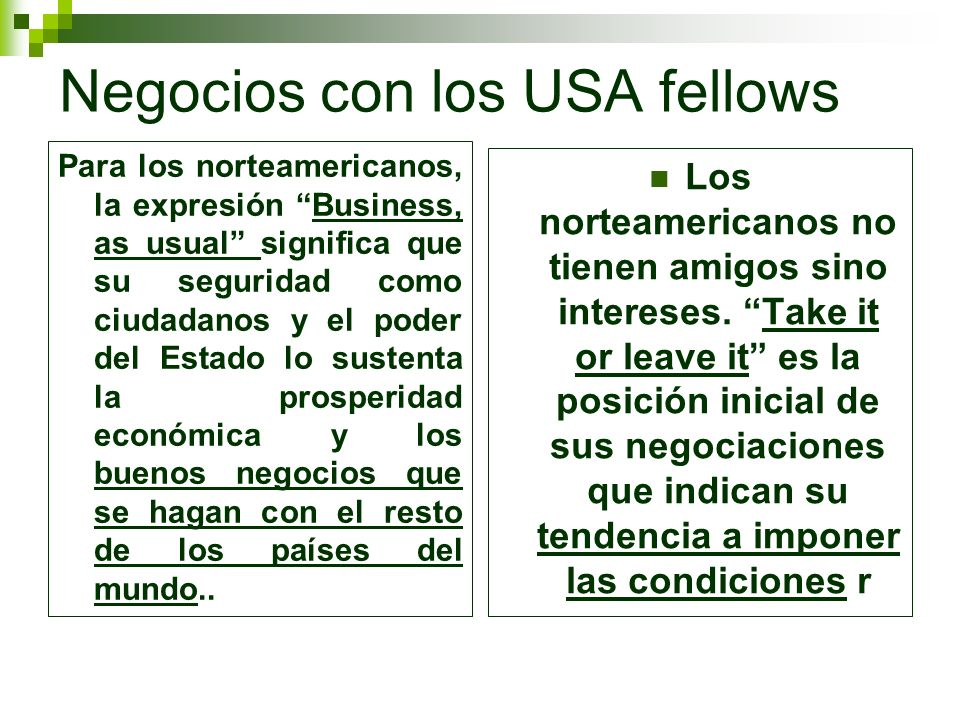 Negocios con los USA fellows