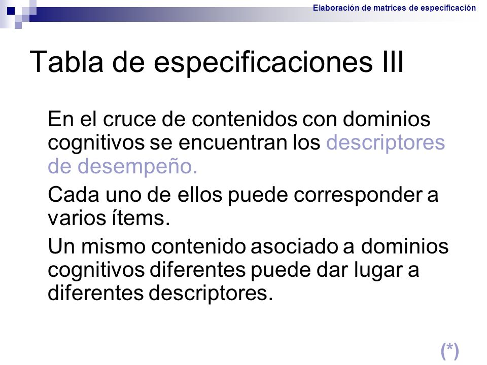 Tabla de especificaciones III