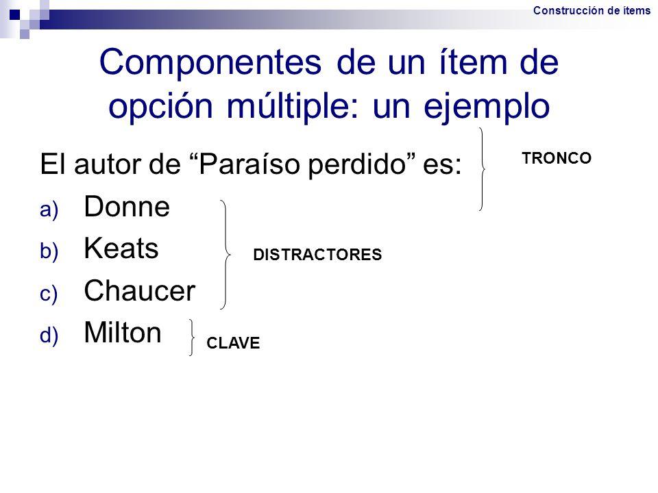 Componentes de un ítem de opción múltiple: un ejemplo