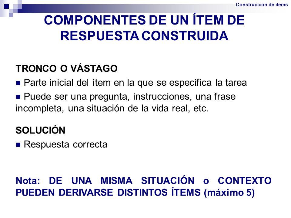 COMPONENTES DE UN ÍTEM DE RESPUESTA CONSTRUIDA