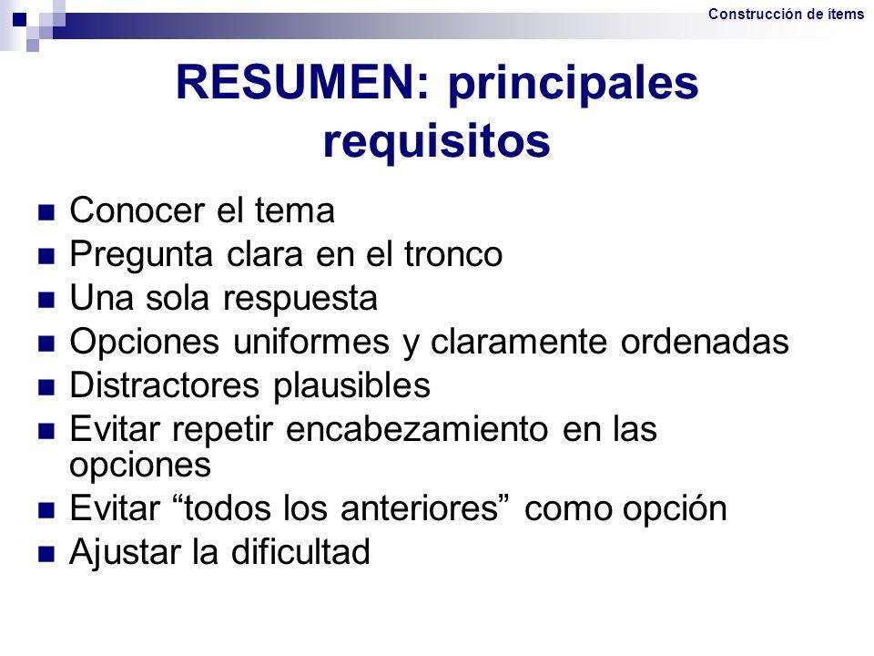 RESUMEN: principales requisitos