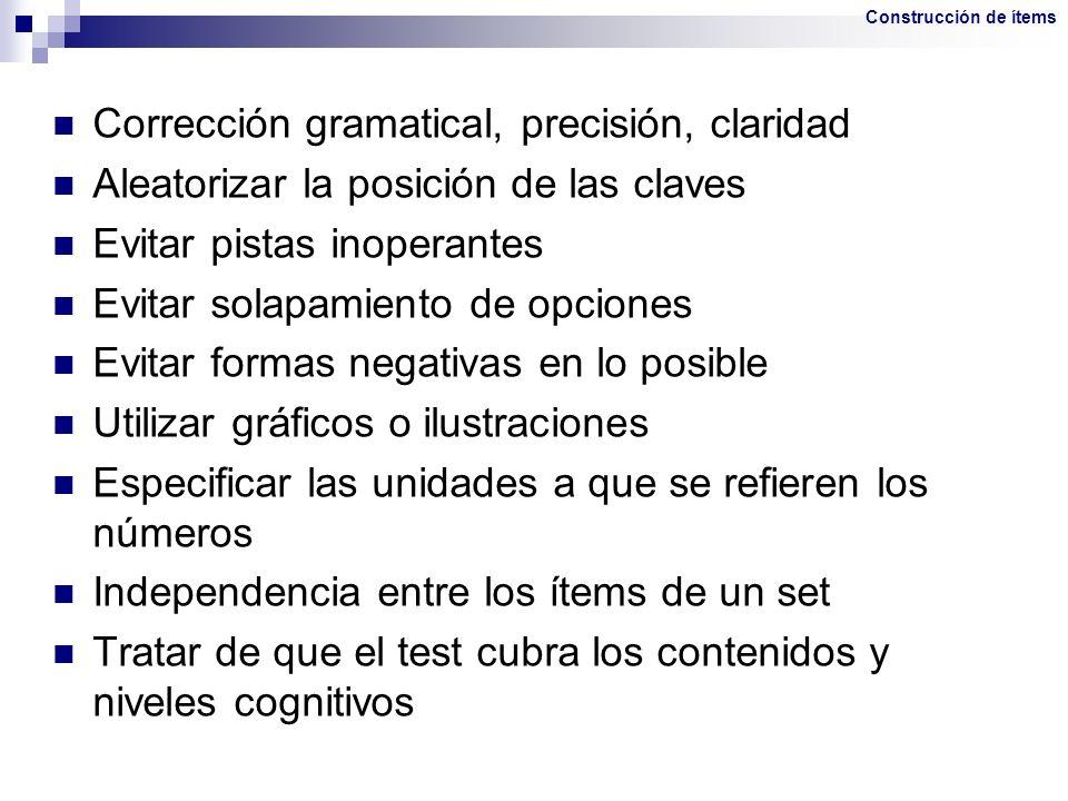 Corrección gramatical, precisión, claridad